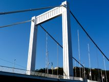 Opinião Elisabeth Bridge sobre o Danúbio em Budapest foto de stock royalty free
