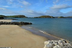 Opinião em Forest Park, Co da praia Donegal, Irlanda imagem de stock