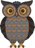 Opinião ereta inteligente sábia de Owl Front Imagens de Stock