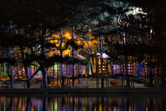 Opinião escura surpreendente do parque da noite foto de stock royalty free