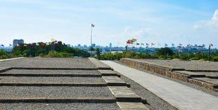 Opinião exterior Christopher Columbus Lighthouse no céu azul Zona ocidental de Santo Domingo, República Dominicana Fotos de Stock Royalty Free