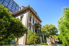 Opinião exterior Leland Stanford Mansion, Sacramento imagens de stock
