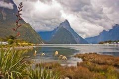 Opinião famosa Milford Sound do porto do fiorde, Nova Zelândia imagens de stock