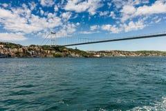Opinião Fatih Sultan Mehmet Bridge que localed no passo de Bosphorus Istambul Turquia Imagem de Stock Royalty Free
