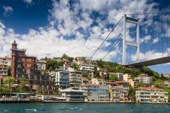 Opinião Fatih Sultan Mehmet Bridge que localed no passo de Bosphorus Istambul Turquia Fotos de Stock Royalty Free