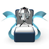 Opinião grande de Diamond Ring In Gift Box Front Foto de Stock