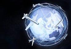 Opinião horizontal do globo da terra de Ásia do espaço cósmico Imagens de Stock Royalty Free
