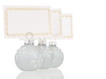 Opinião inline cinzenta de suportes de cartões do lugar do Natal Foto de Stock