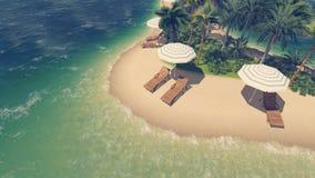 Opinião invertido da praia tropical de Sandy ilustração royalty free