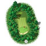 Opinião isométrica aérea do furo do campo de golfe do vetor ilustração do vetor