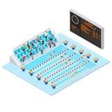 Opinião isométrica do conceito 3d da competição da natação Vetor ilustração royalty free
