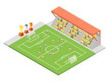 Opinião isométrica do conceito 3d do futebol do estádio de futebol Vetor Imagem de Stock