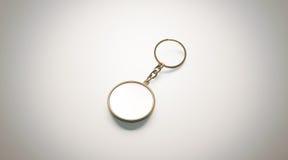 Opinião isométrica do modelo branco redondo vazio da porta-chaves do ouro Fotos de Stock Royalty Free