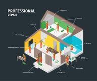 Opinião isométrica home do conceito 3d de Infographic do reparo Vetor Imagem de Stock Royalty Free