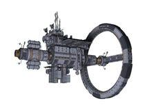 opinião lateral da estação espacial 3D isolada ilustração royalty free