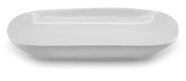 Opinião lateral da placa do prato da esfera no fundo branco Fotografia de Stock