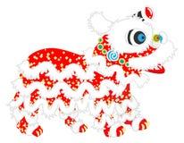 Opinião lateral de Lion Dance - Lion Dance é ano novo chinês trad ilustração stock