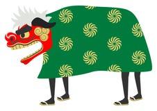 Opinião lateral de Shishimai - Shishimai é a tradição japonesa de ano novo ilustração do vetor
