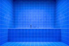 Opinião lateral do banheiro azul à cuba ilustração do vetor