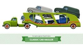 Opinião lateral do caminhão médio clássico do portador de carro do dever ilustração stock