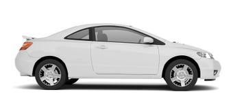 Opinião lateral do carro branco compacto Imagem de Stock Royalty Free
