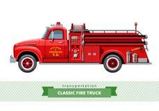 Opinião lateral do carro de bombeiros médio clássico do dever ilustração do vetor