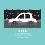 A opinião lateral do carro em uma inundação ilustração do vetor