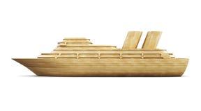Opinião lateral do forro de madeira do cruzeiro 3d Imagem de Stock Royalty Free