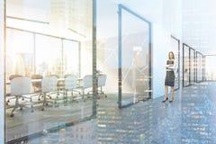 Opinião lateral do teste padrão branco da entrada da sala de reunião, mulher Imagem de Stock Royalty Free