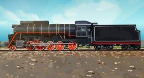 Opinião lateral do trem do vintage ilustração royalty free