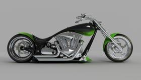 Opinião lateral do verde feito sob encomenda da bicicleta Imagem de Stock Royalty Free