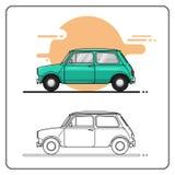 Opinião lateral dos carros retros pequenos ilustração royalty free