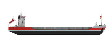 Opinião lateral isolada grande de navio de carga ilustração royalty free