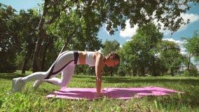 A opinião lateral a mulher que atlética do ajuste magro bonito fazer exterior empurra levanta o exercício e a formação exterior n filme