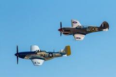 Opinião lateral o p-40 e o mustang p-51 famoso Imagens de Stock
