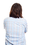 Opinião lateral traseira o homem de cabelos compridos Foto de Stock