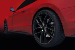 Opinião lateral vermelha de carro de esportes Fotos de Stock Royalty Free