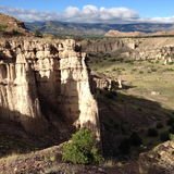 Opinião longa do deserto Fotos de Stock Royalty Free