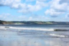 Opinião macia do mar de Saundersfoot do foco Foto de Stock Royalty Free