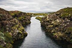 Opinião maravilhosa da paisagem do parque nacional de Pingvellir fotografia de stock