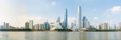 Opinião moderna da arquitetura da cidade da cidade de Guangzhou, China fotos de stock
