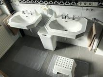 Opinião moderna preto e branco do interior do banheiro Fotografia de Stock