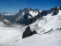 Opinião Monte Bianco dos cumes das montanhas Imagens de Stock