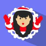 Opinião moreno do floco de neve da ilustração do ano novo do Natal da menina de Santa de cima de Foto de Stock Royalty Free