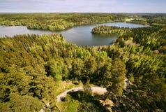 Opinião nacional finlandesa da paisagem no parque natural de Aulanko em Finlandia Fotografia de Stock