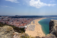 Opinião Nazare em Portugal Fotografia de Stock Royalty Free