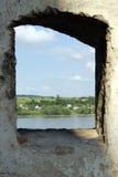 Opinião no Kamenets-Podolsk, Hotin da janela Imagens de Stock Royalty Free