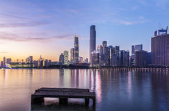Opinião nova da noite da cidade CBD de Guangzhou Pearl River Imagens de Stock