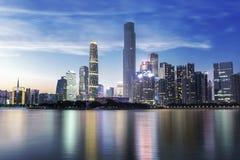 Opinião nova da noite da cidade CBD de Guangzhou Pearl River Imagem de Stock