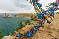 Opinião o curandeiro Rock Lago Baikal Console de Olkhon Rússia fotografia de stock